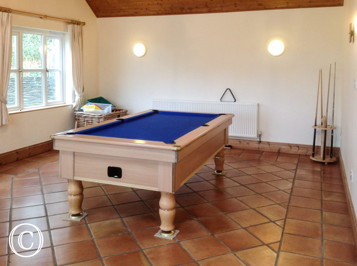 A great place to relax overlooking the garden and enjoy a game of pool