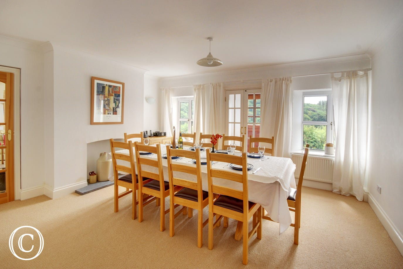 The separate dining room with ample space for leisurely family meals