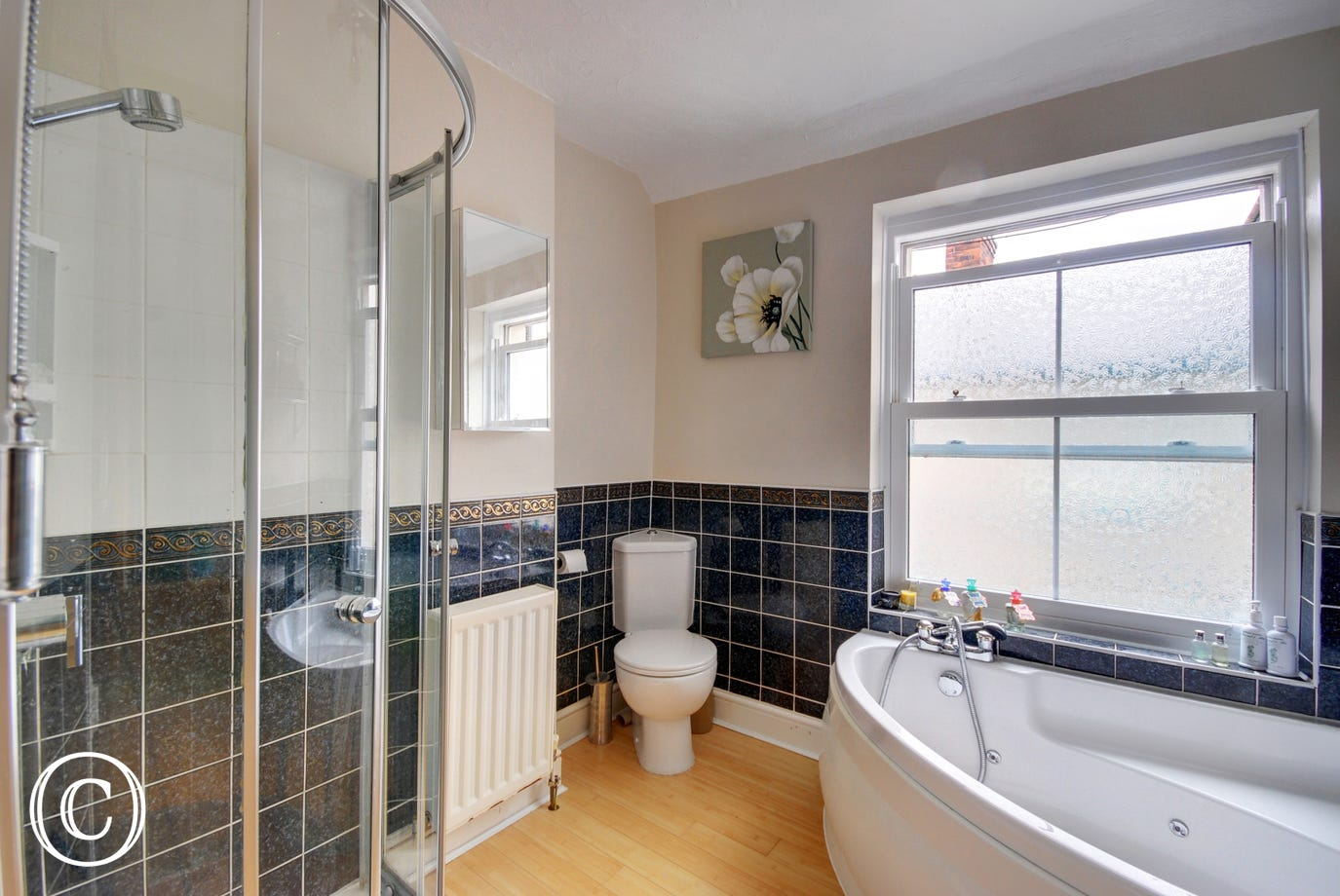 Family bathroom with bath and a separate shower cubicle