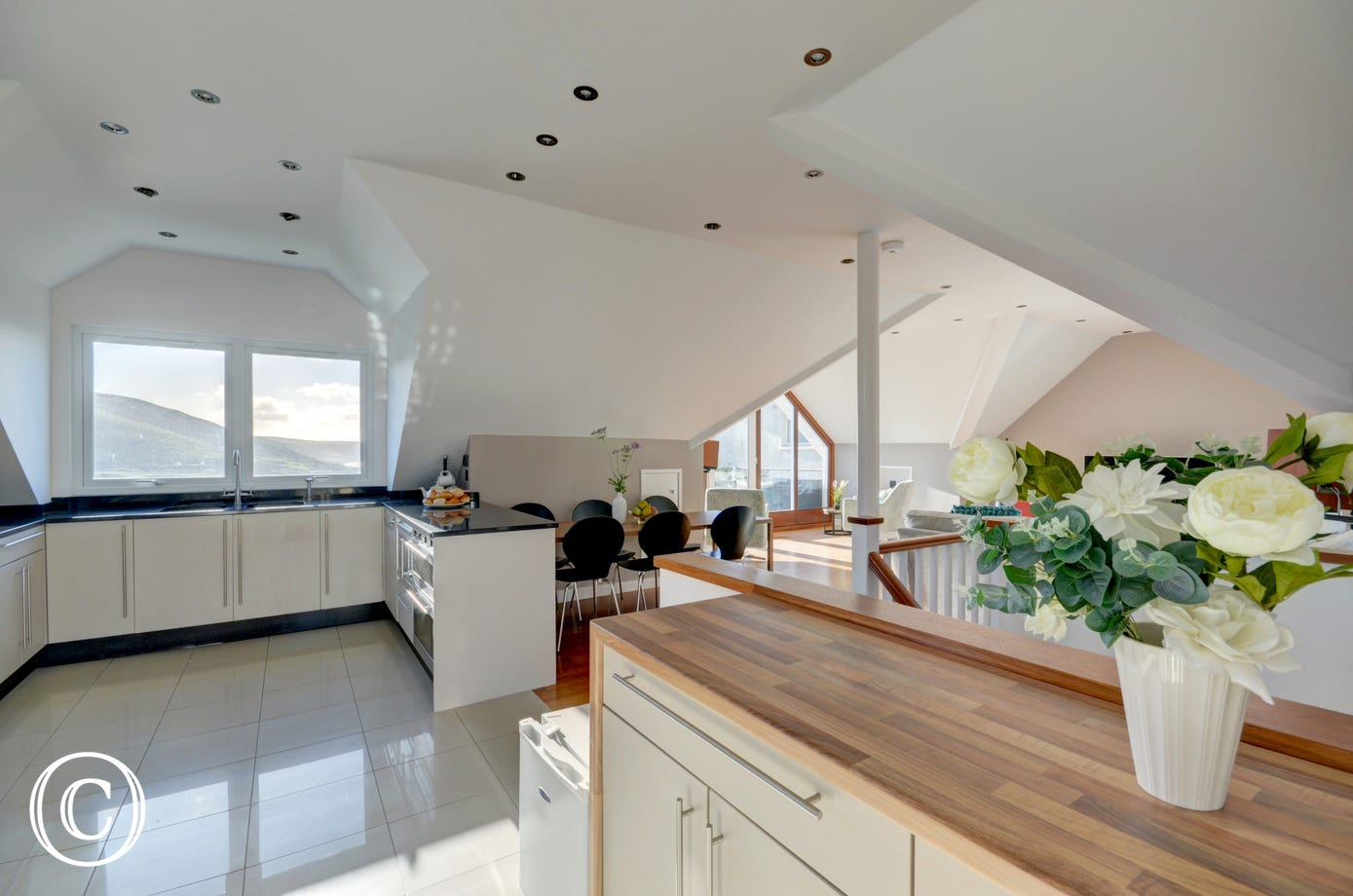 Spacious kitchen with wonderful sea views