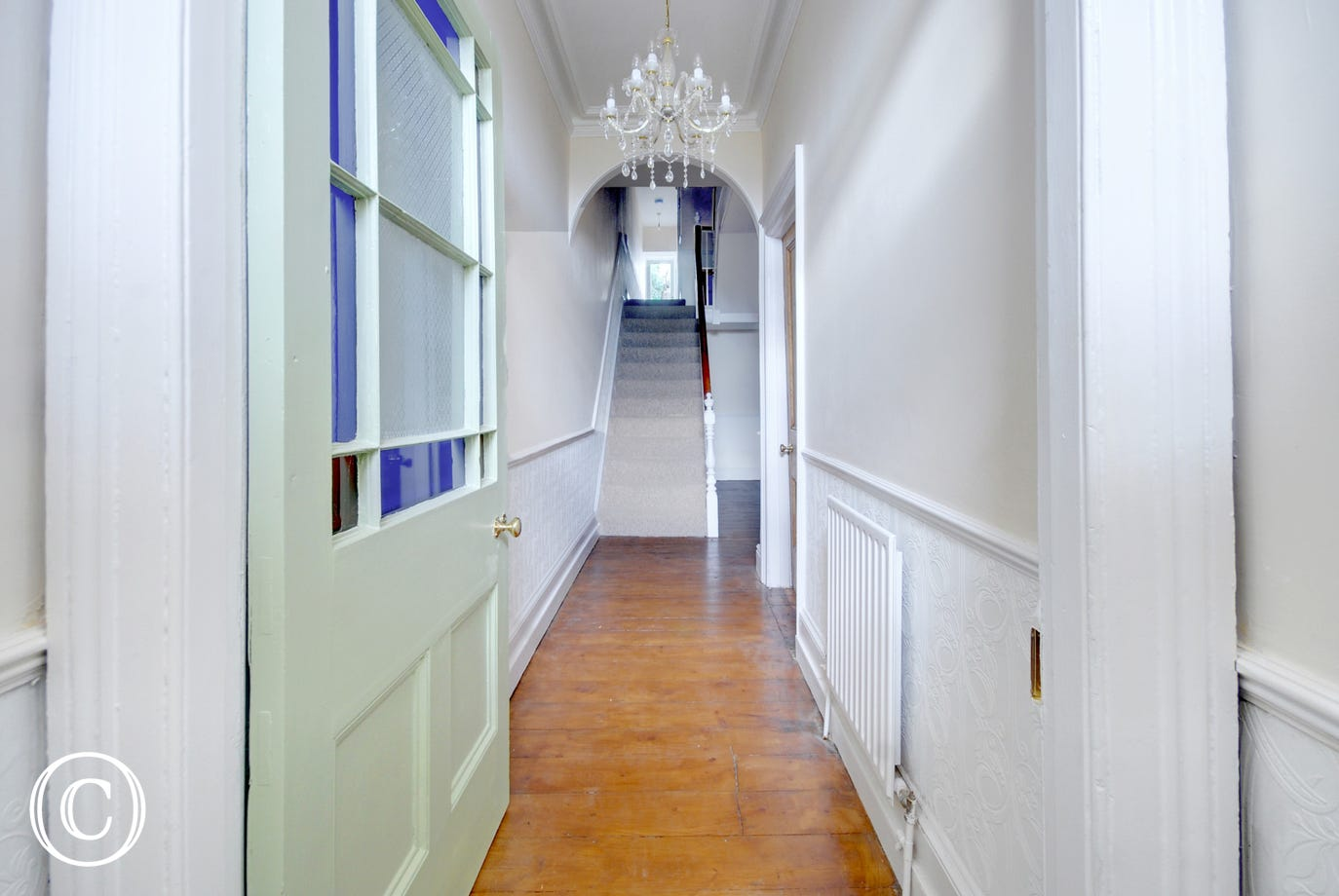 The grand entrance hallway