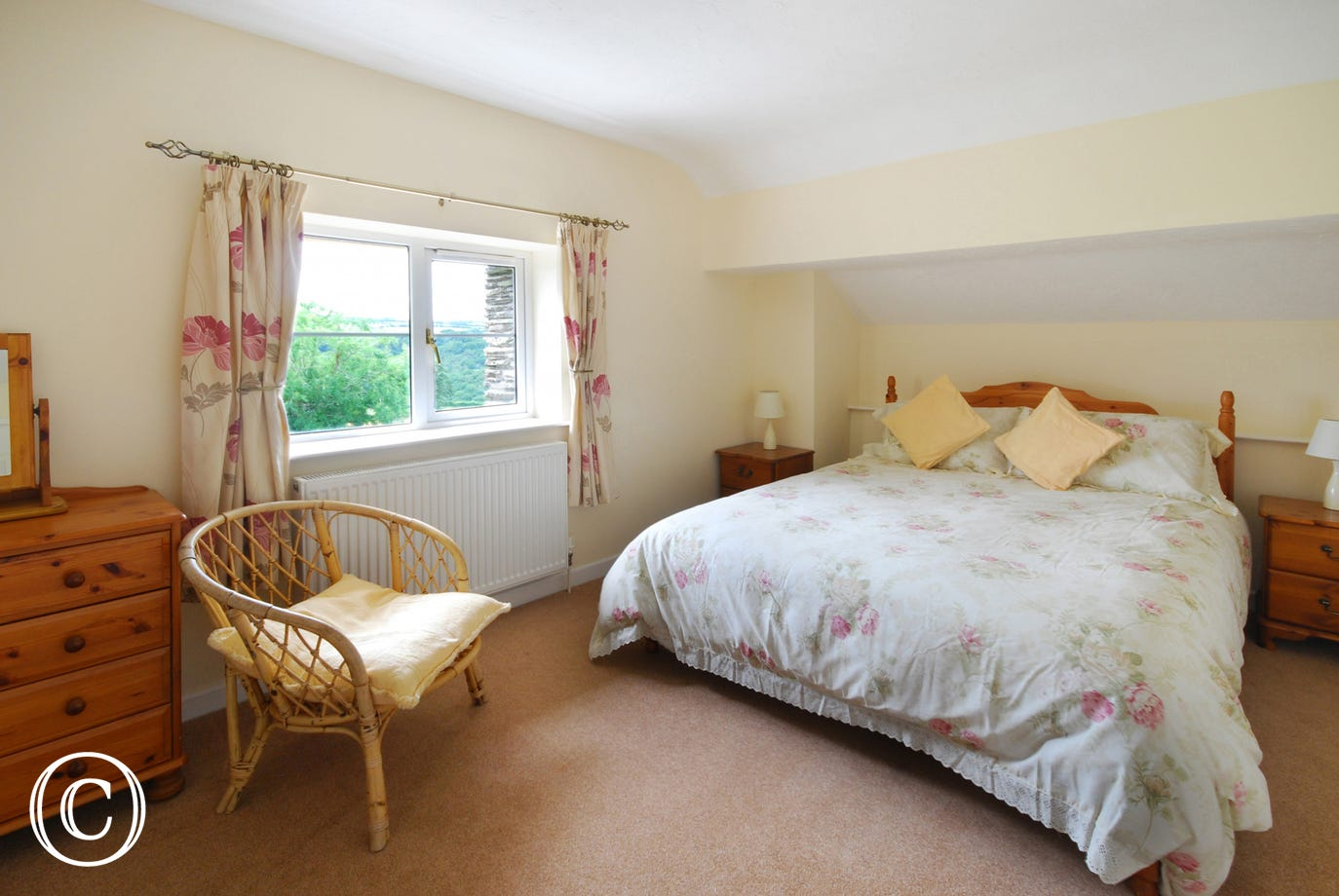 Upstairs the spacious master double bedroom has glorious countryside views