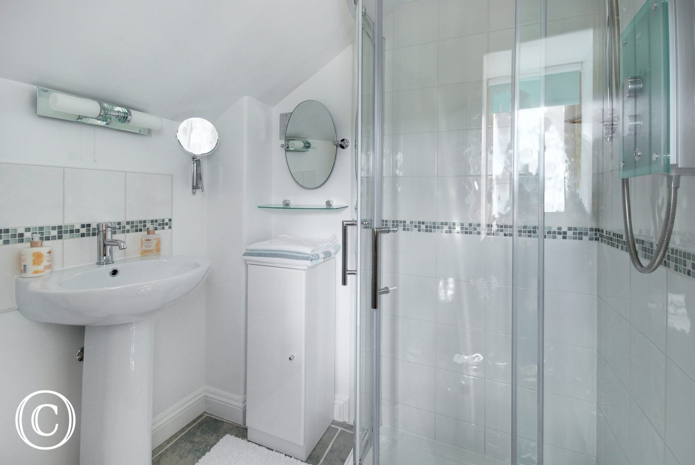 The pristine modern shower room