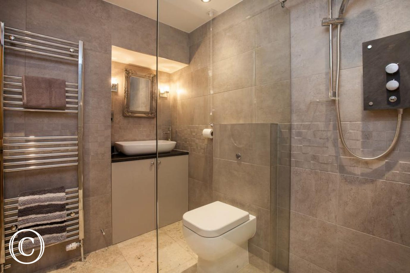 Ground floor shower room with glass walk-in shower enclosure - total luxury!