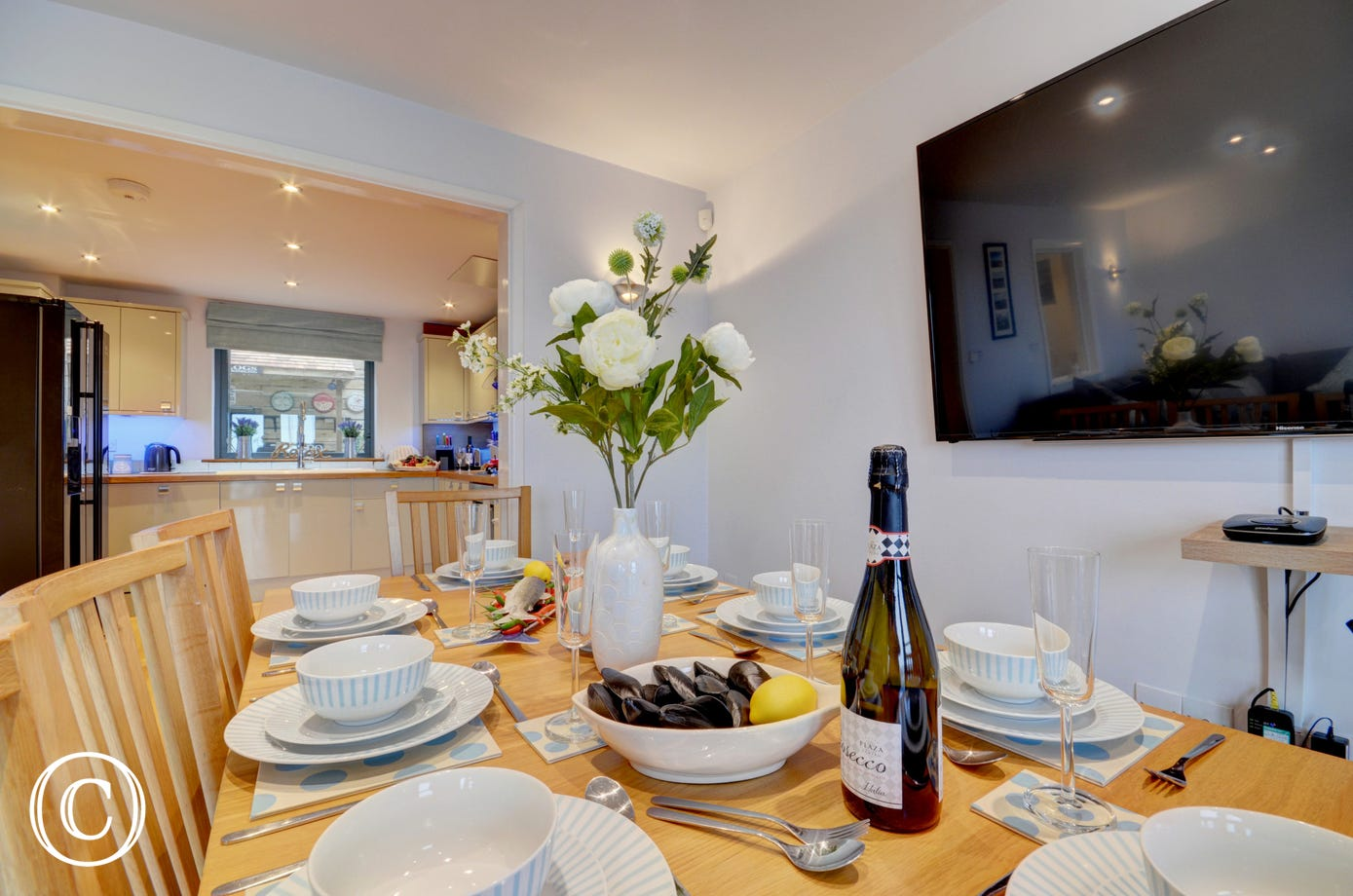 The dining area leads from the kitchen making entertaining a pleasure