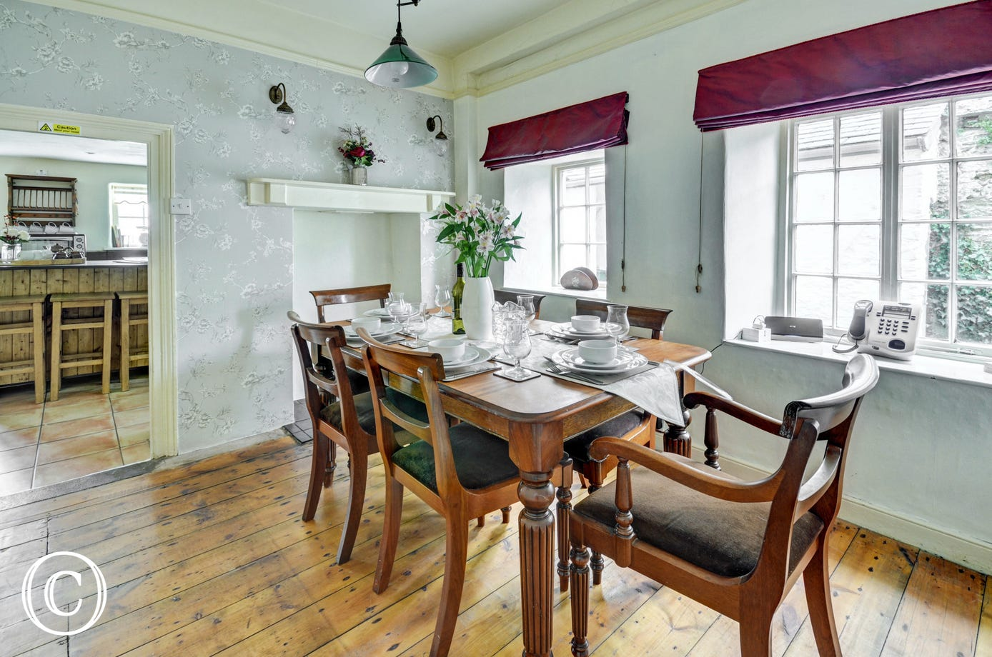 The separate dining room provides a space for formal or informal dining