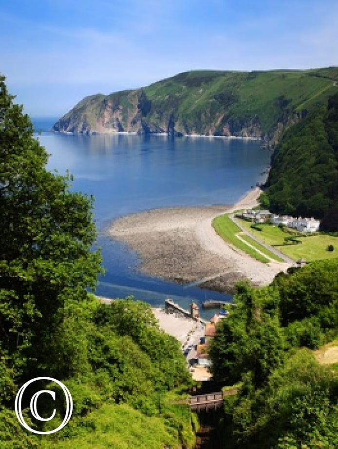 A view of Lynmouth and the coastline
