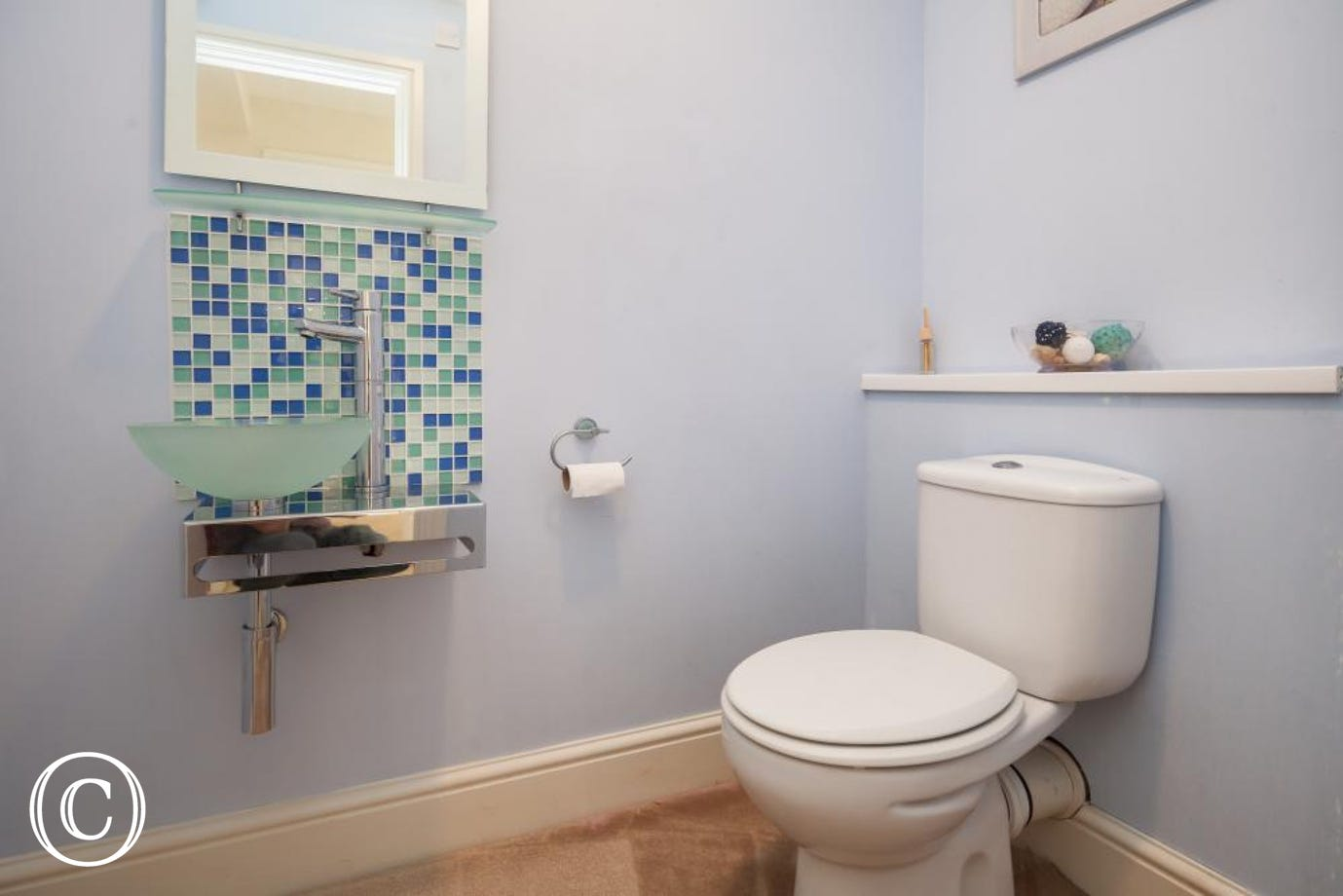 WC and Glass Basin for Stylish Convenience