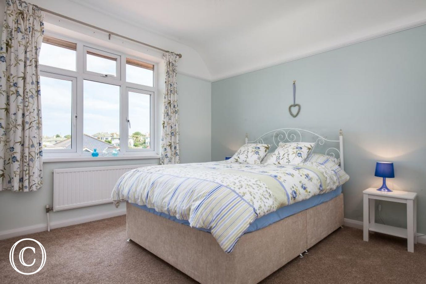 Spacious, Sea View Kingsize Bedroom with Wardrobes, Dressing Table & TV.