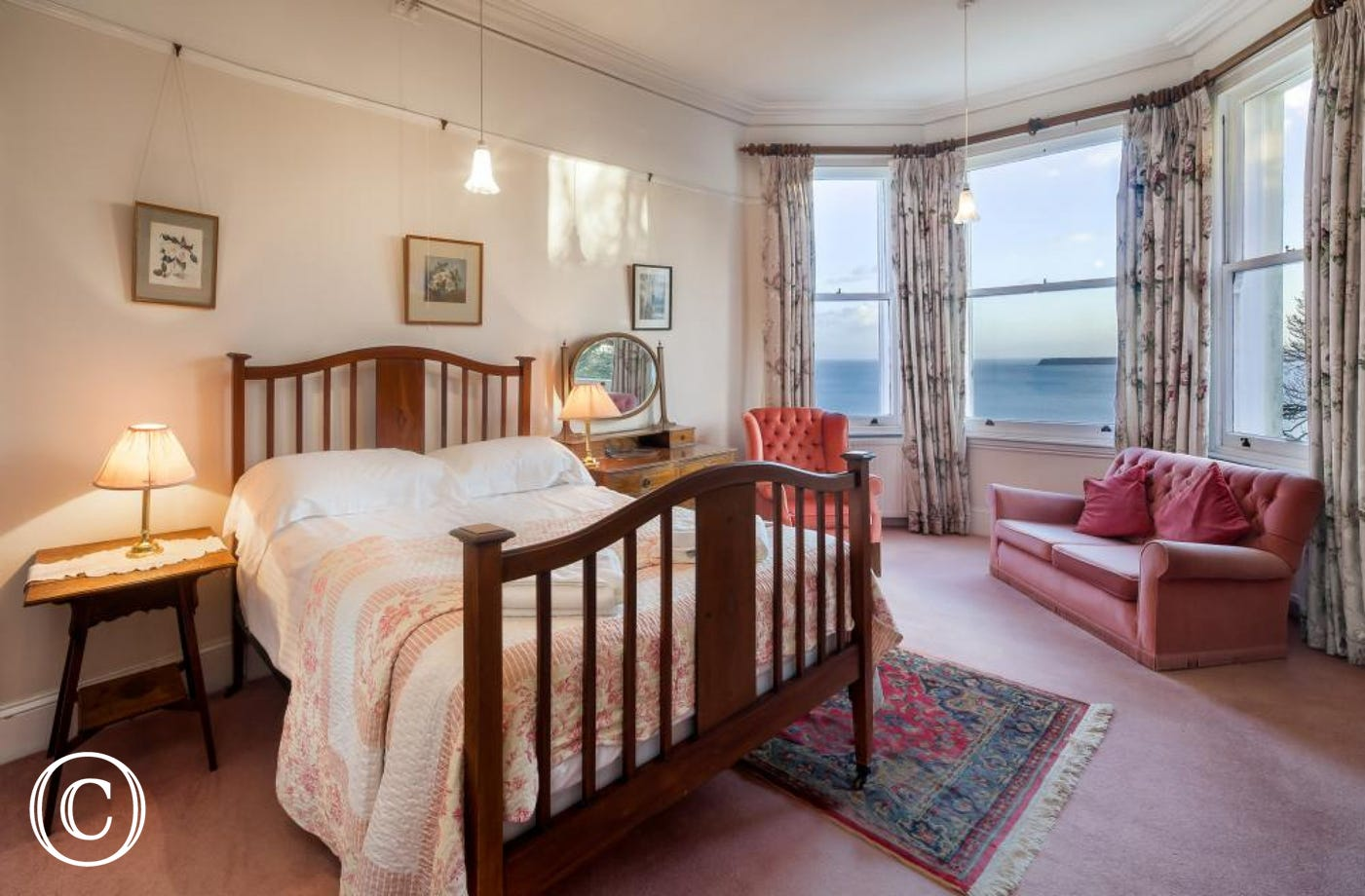 Longcroft House, Torquay - Bedroom 2 with sea views