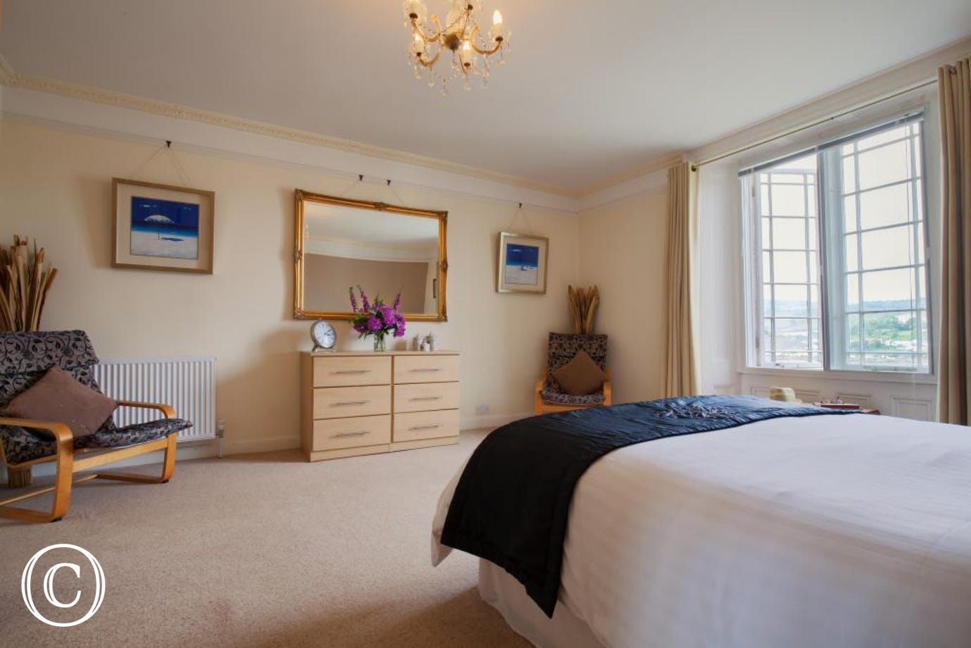 Large master bedroom with lots of wardrobe space and beautiful across the River Teign
