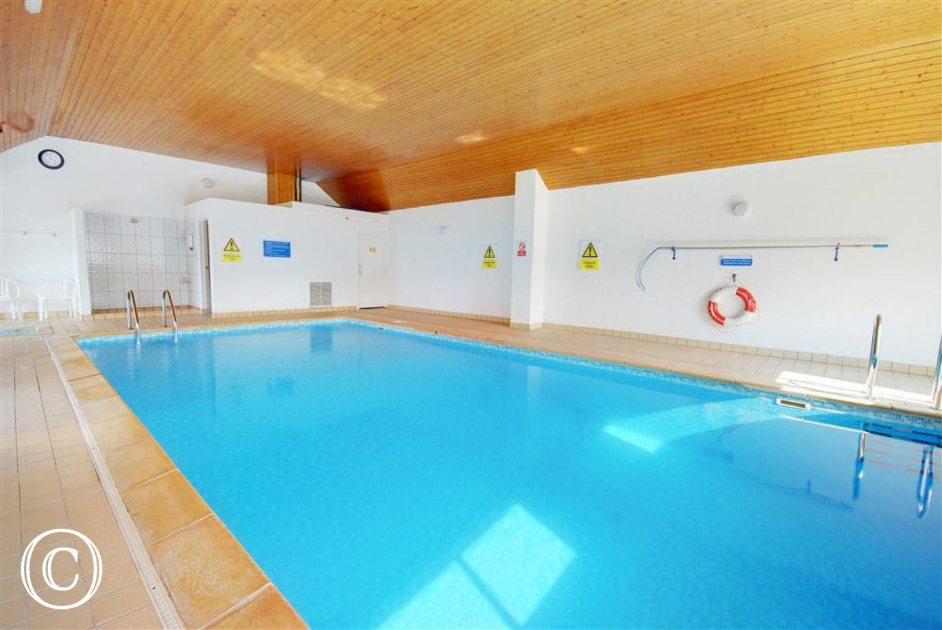 The fabulous indoor heated swimming pool at Clifton Court