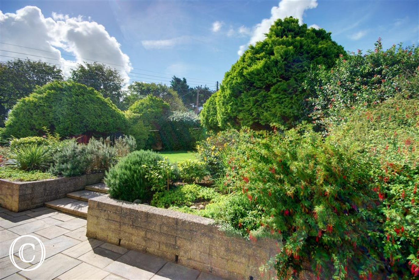The gardens are beautifully kept and have mature trees and shrubs