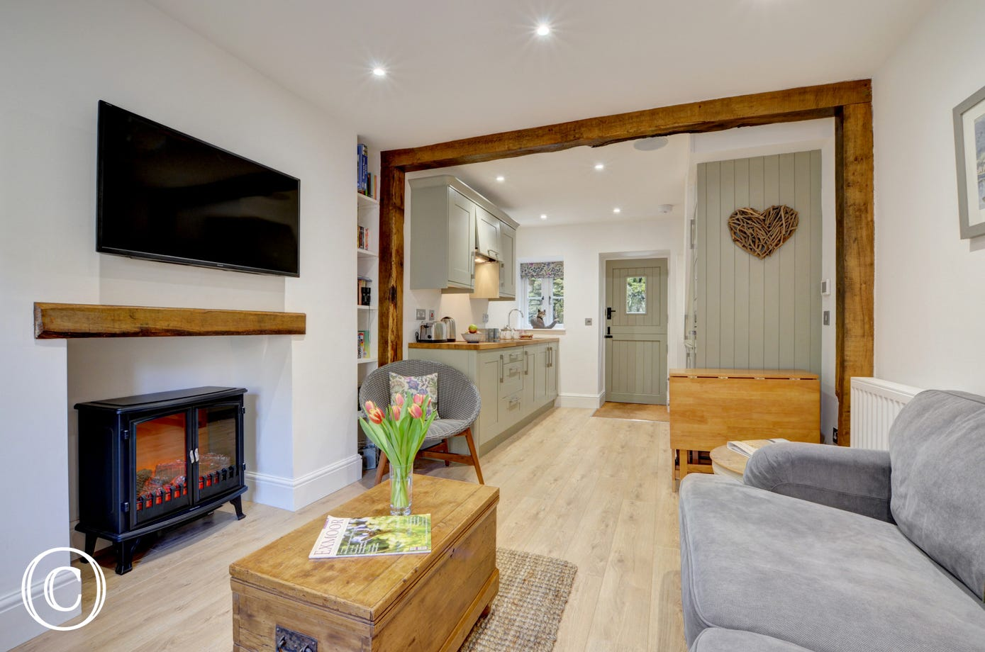 Fox cottage has a modern contemporary style yet the original character of this 17th century cottage can still be seen in the beams and inglenook fireplace