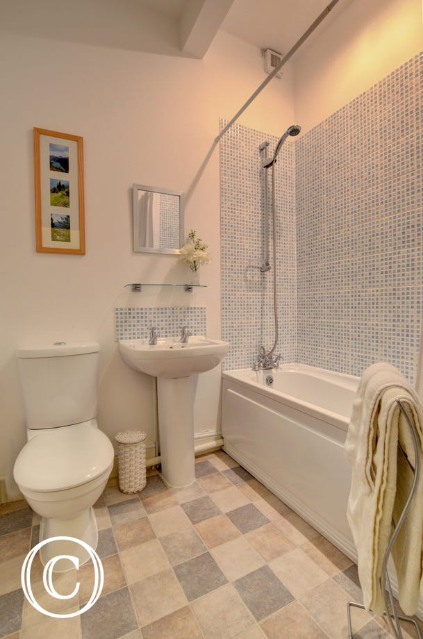 The modern bathroom complemented by laminate flooring and shower over the bath