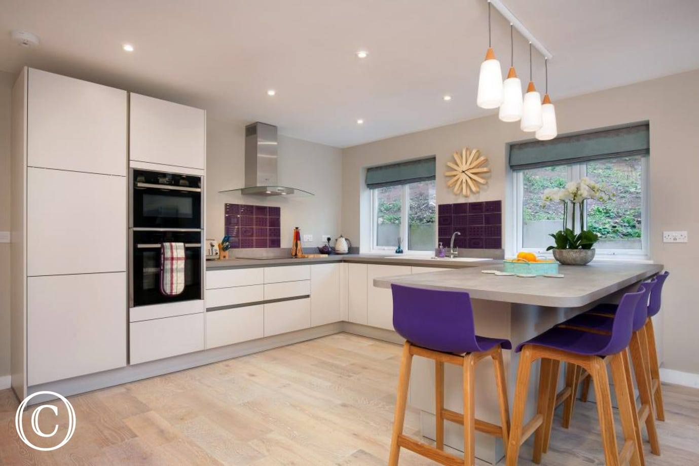 Super stylish kitchen with breakfast bar seating