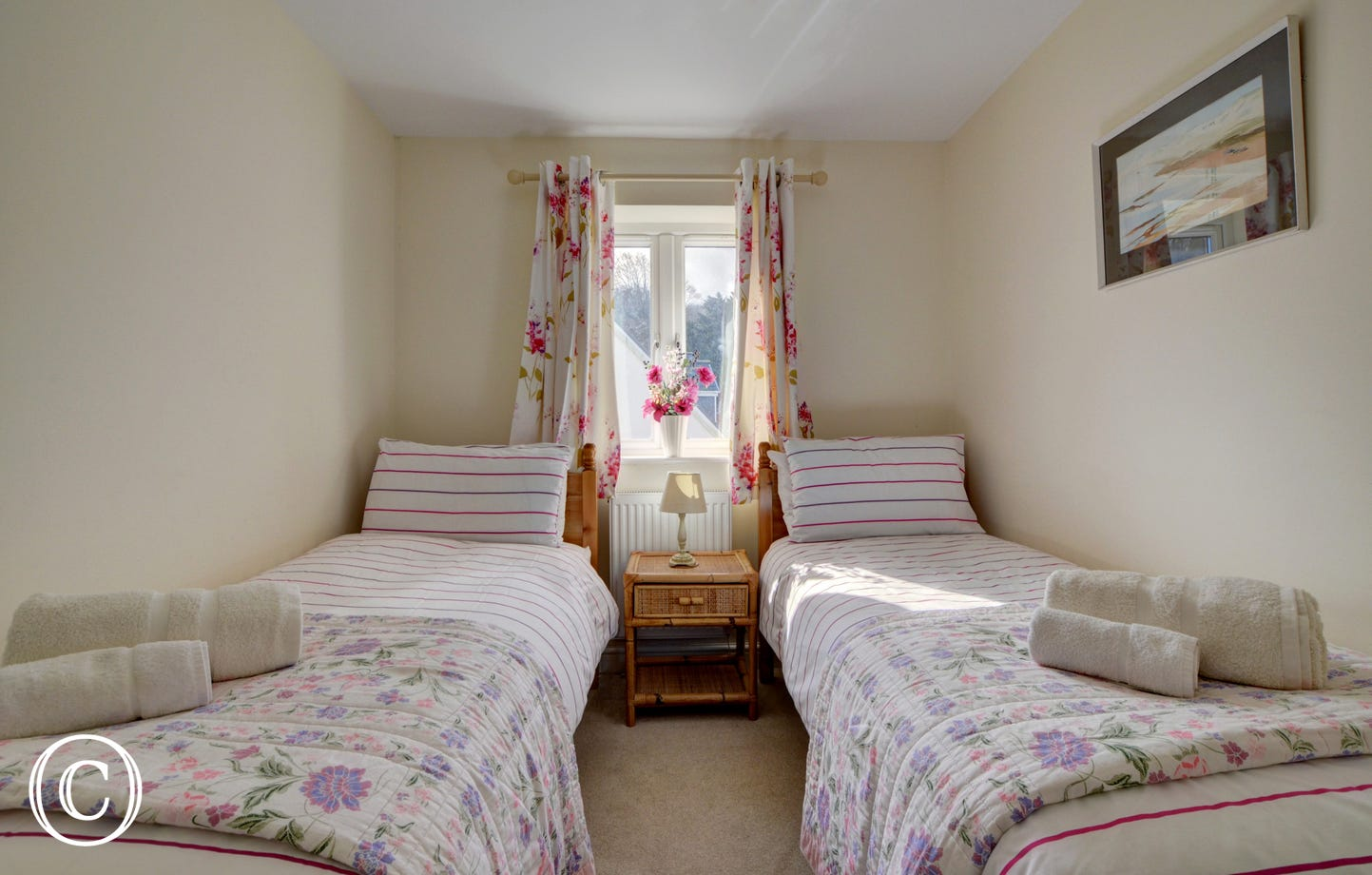 The pretty twin bedroom which overlooks the garden