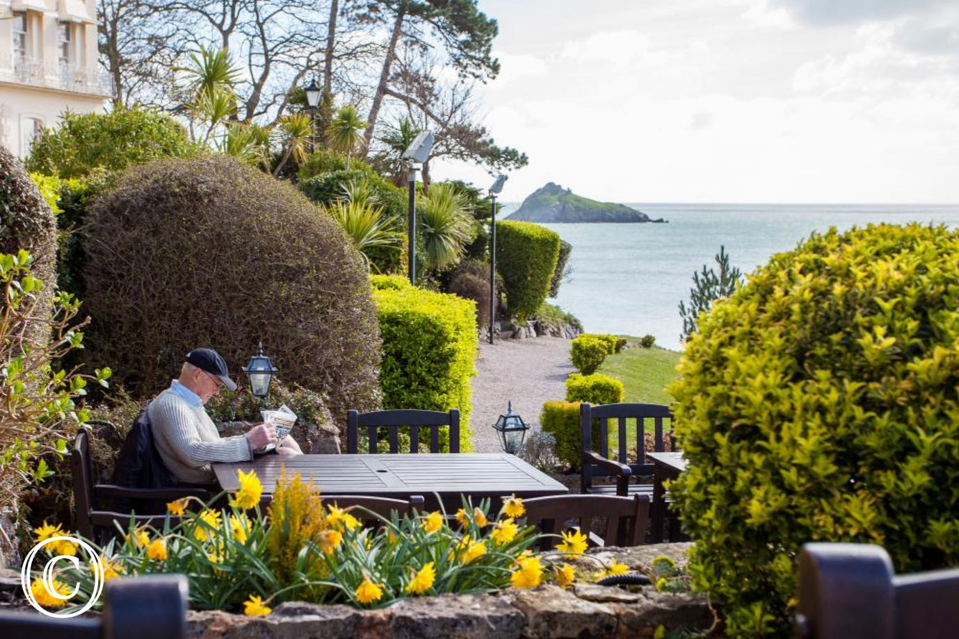 Enjoy the Gardens at Hesketh Crescent, Looking out over Meadfoot Beach to Thatcher's Rock and Beyond
