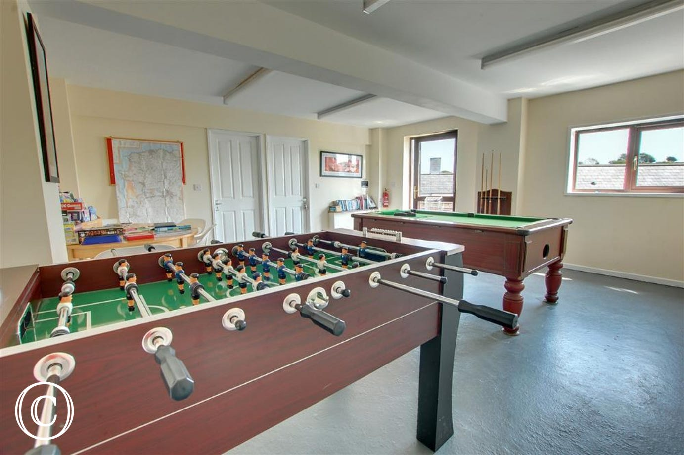 A games room is provided for the use of cottage guests complete with a pool table and table football