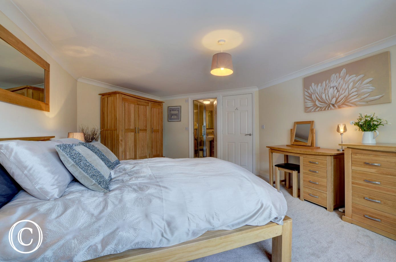 The spacious master bedroom with ensuite bathroom