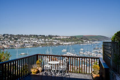 View of the River Dart from decking area at Pebble Cottage in Kingswear
