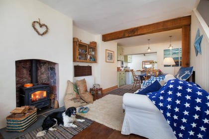 Star Cottage, Shaldon - Living area with woodburner
