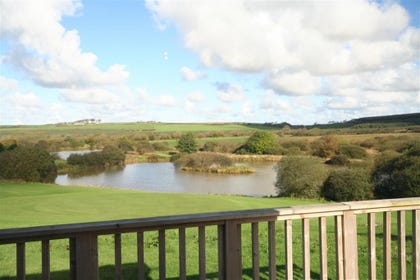 The lodge is in a peaceful and scenic location overlooking the nearby fishing lakes