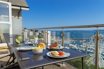 Sea View Balcony with Views over Torquay Harbouside, Torre Abbey Sands and the iconic coastline of Torquay