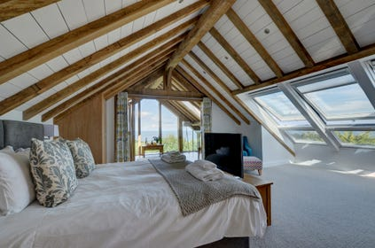 The master bedroom with amazing views, ensuite bathroom and sitting room!