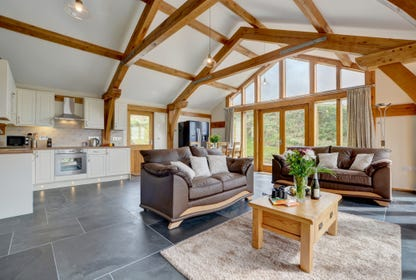 The open plan living area with vaulted beamed ceiling and large glass windows