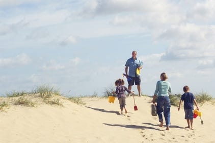 Family enjoying their summer holiday in Devon