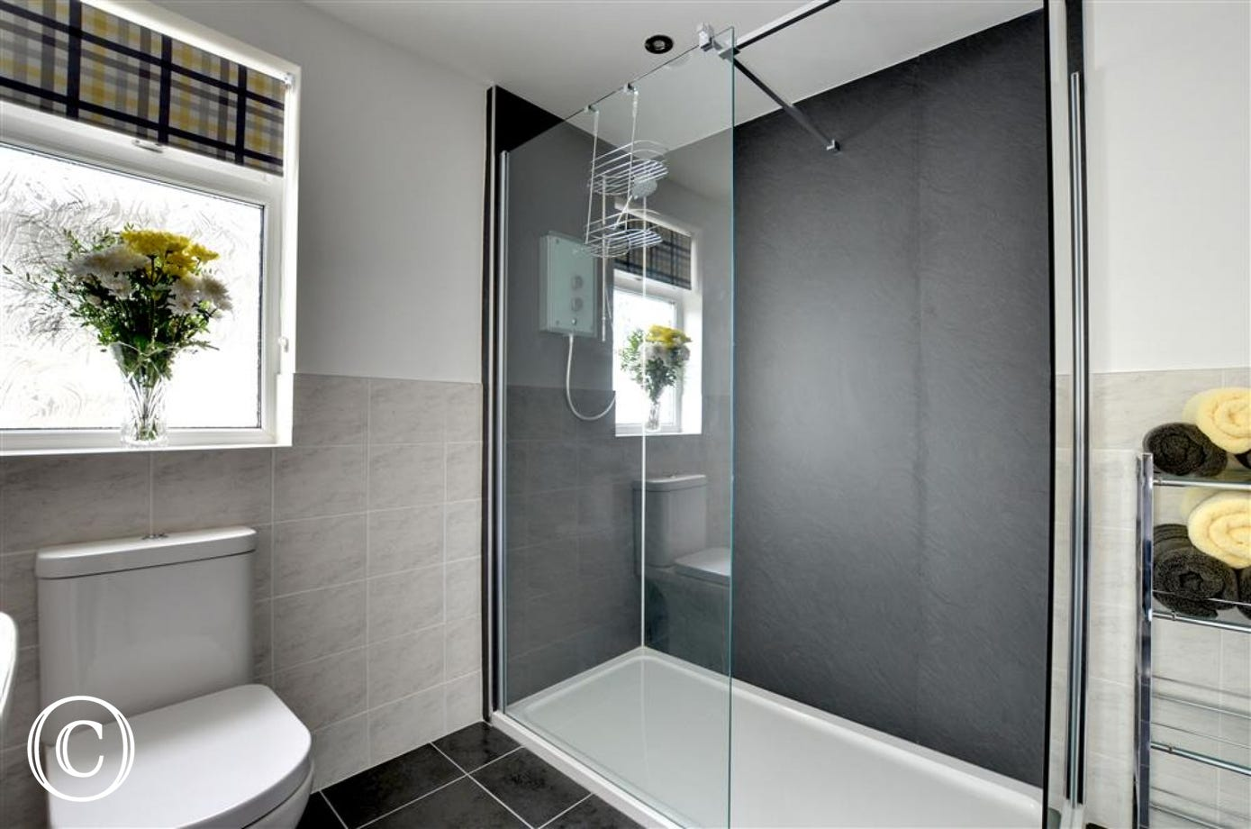 Large walk in shower in the second bathroom