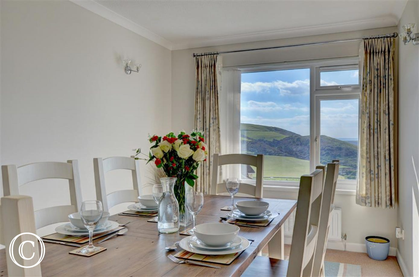 The property benefits from a separate dining room with awe inspiring views