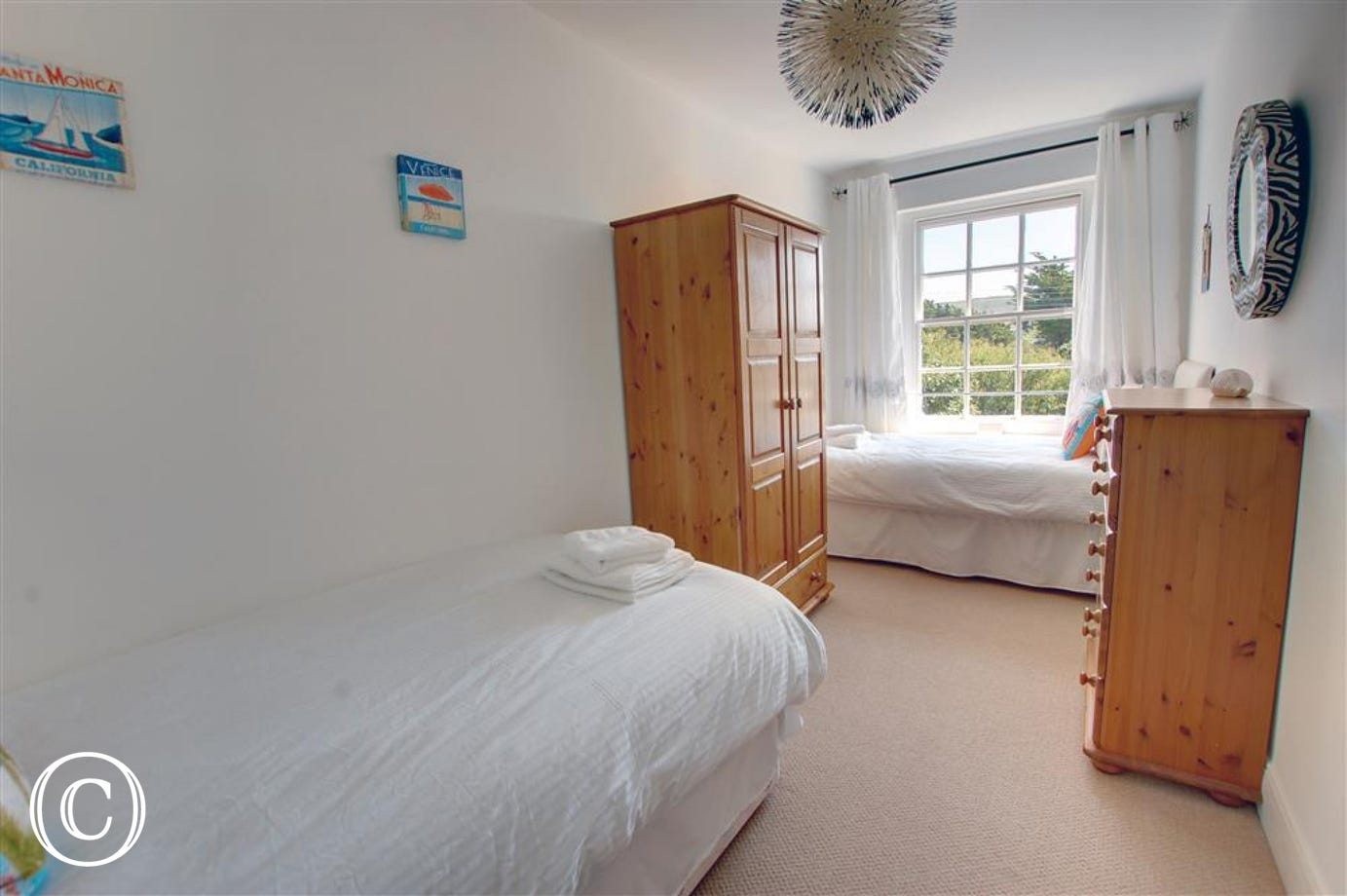 A lovely twin room with countryside views