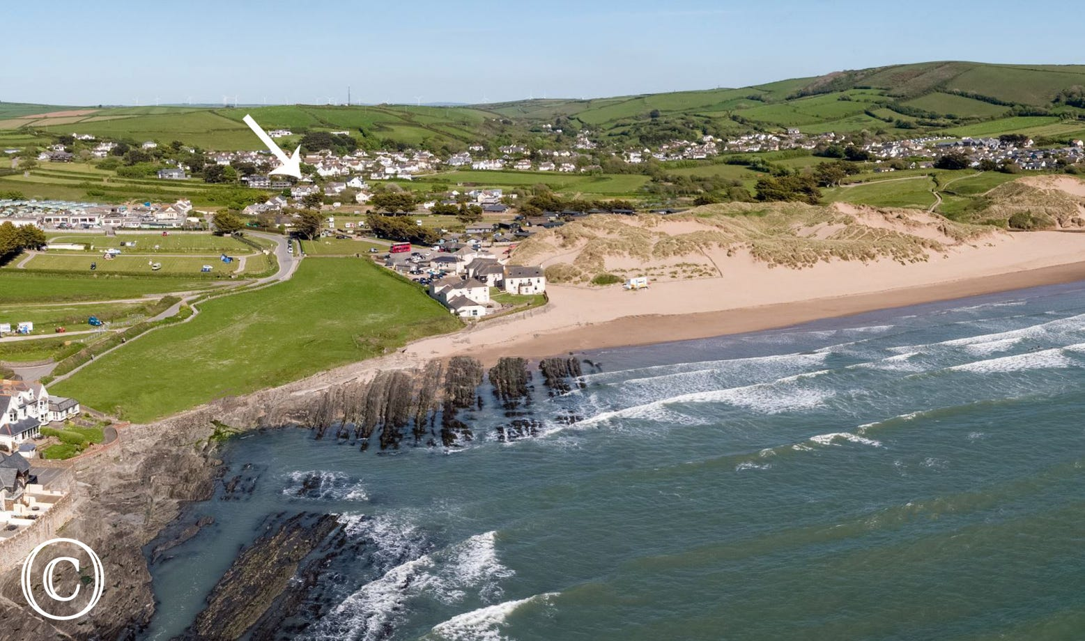 An aerial view of Croyde beach showing just how close The Bolthole is to the beach