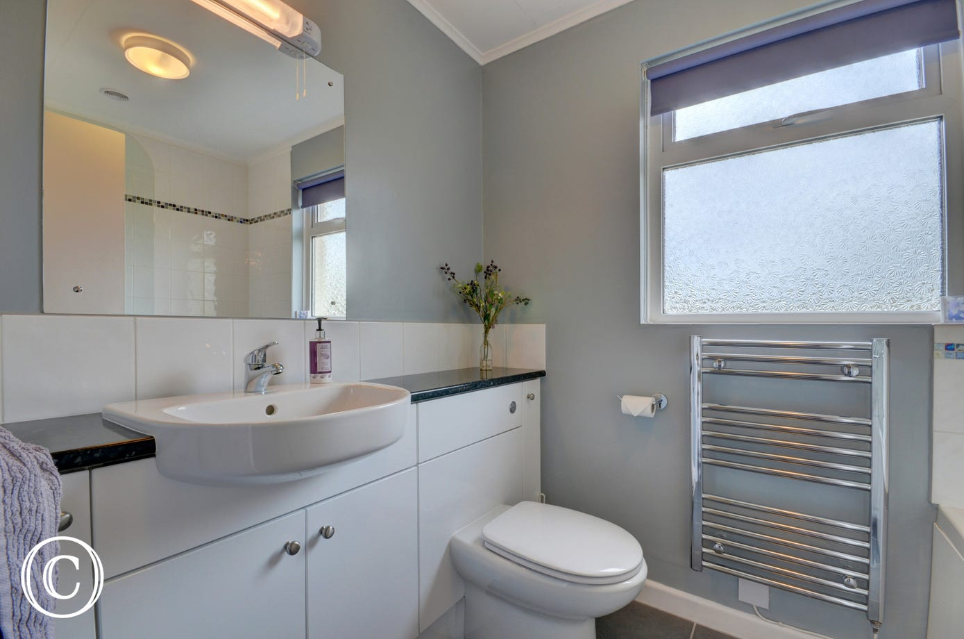 Good-sized bathroom with shower over bath
