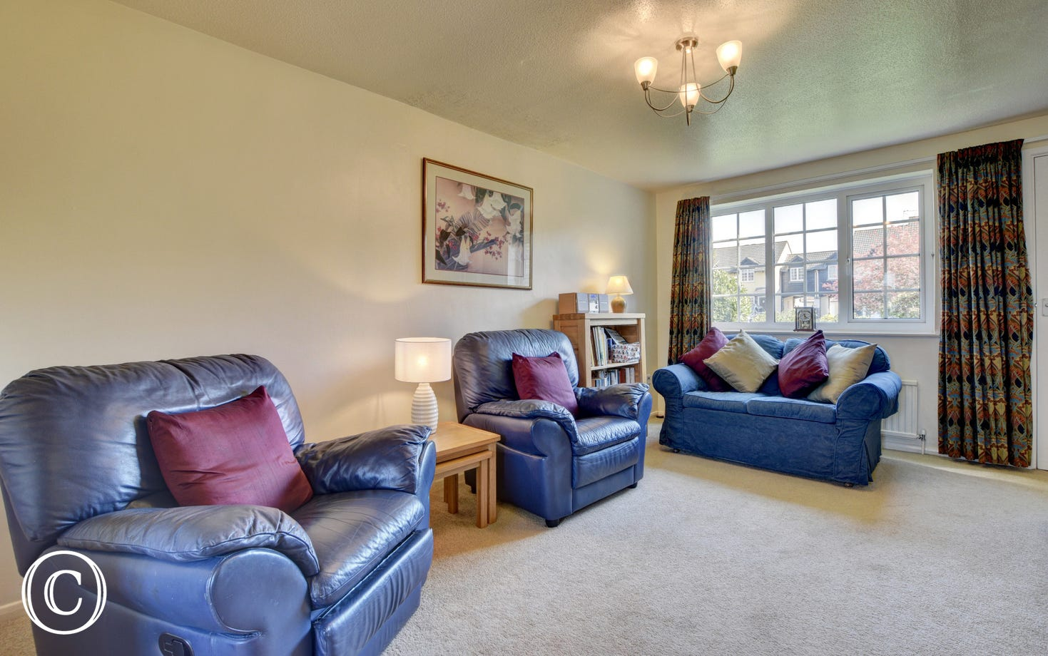 Comfortable leather seating in the sitting room