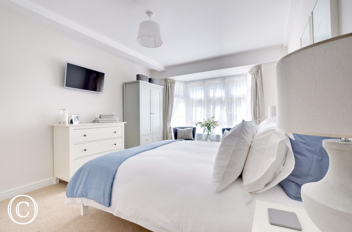 The beautifully decorated master bedroom