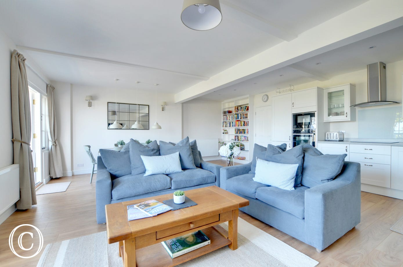 The sitting room has large comfortable sofas