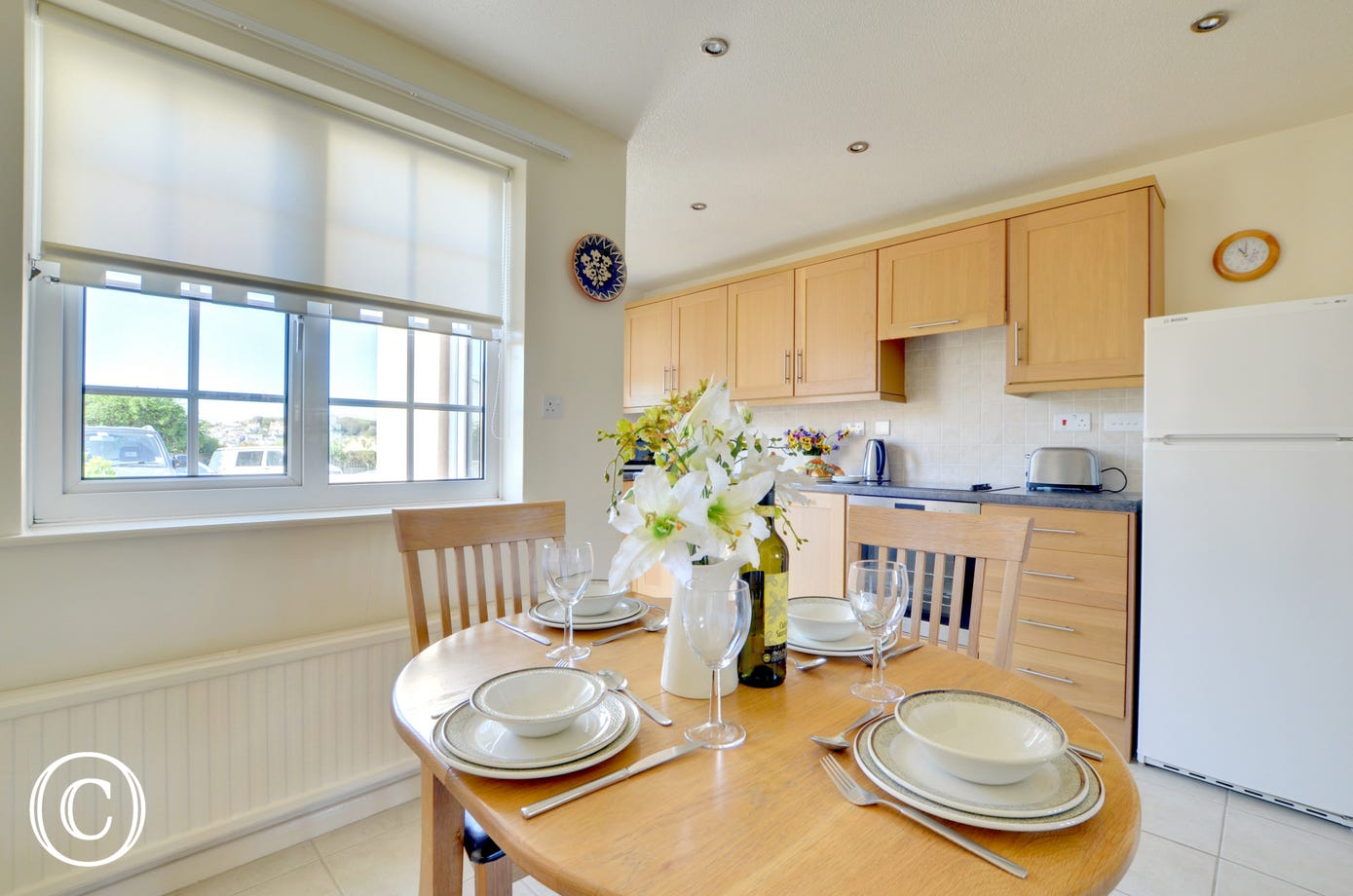 Enjoy meals together in the bright dining area
