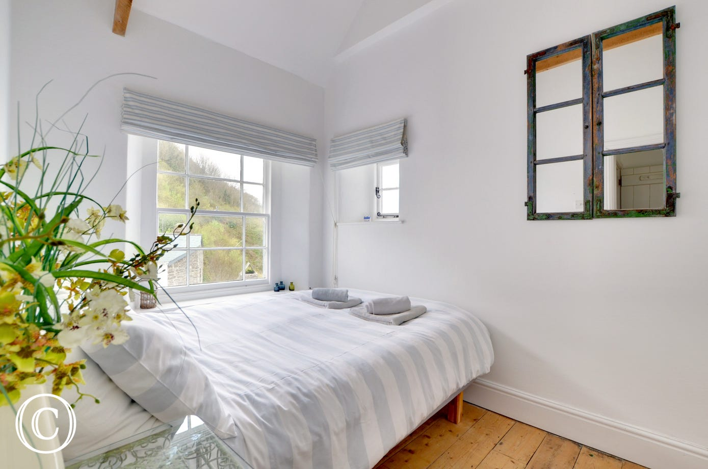 The compact double room with stunning sea views