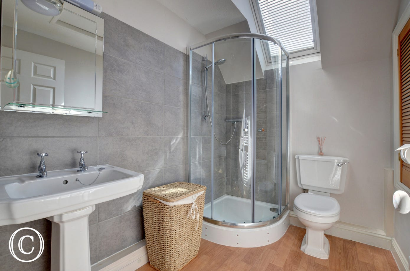 Family bathroom with shower cubical, WC and basin
