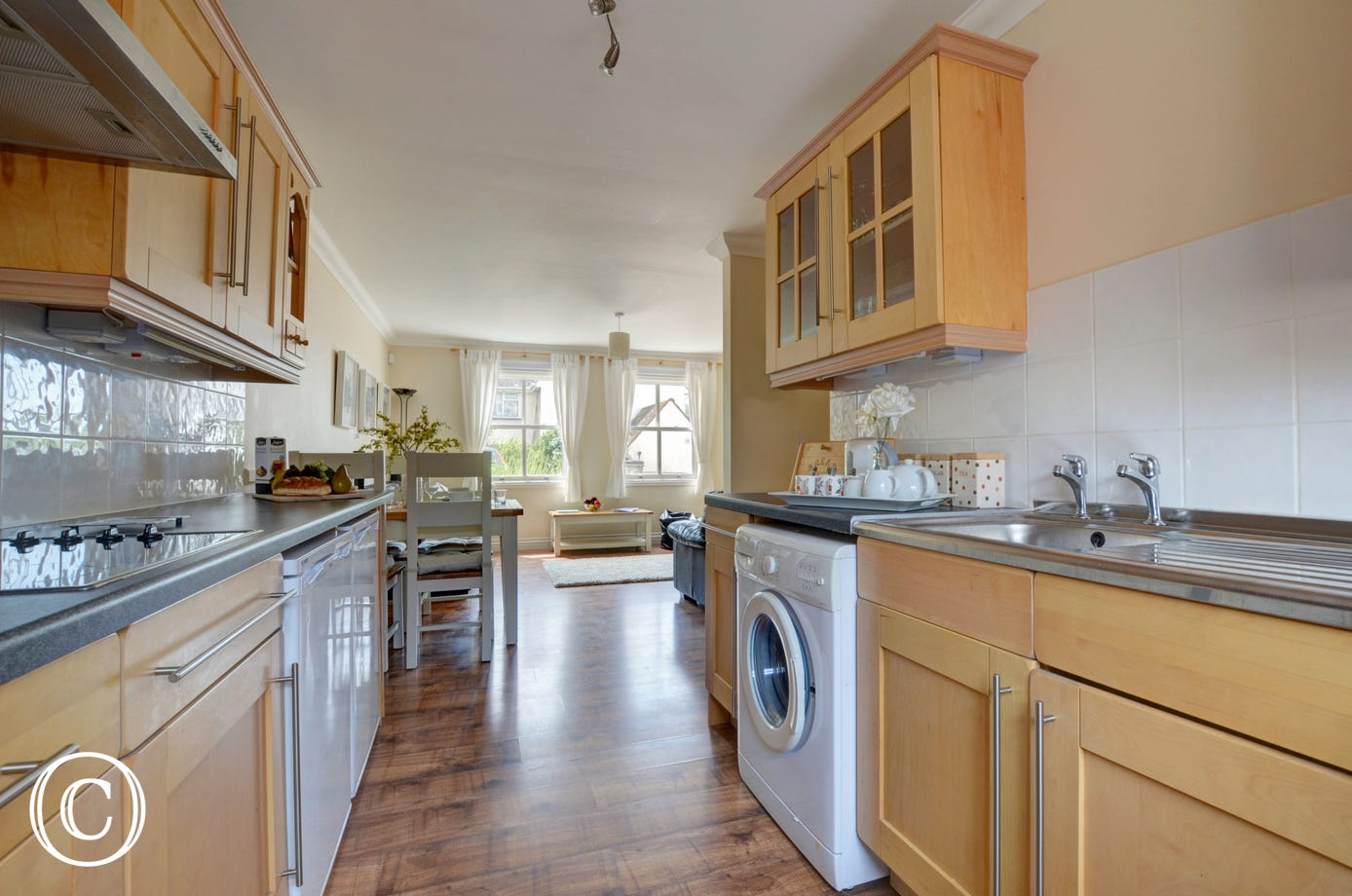 A fully-equipped kitchen area provides all you will need for your holiday