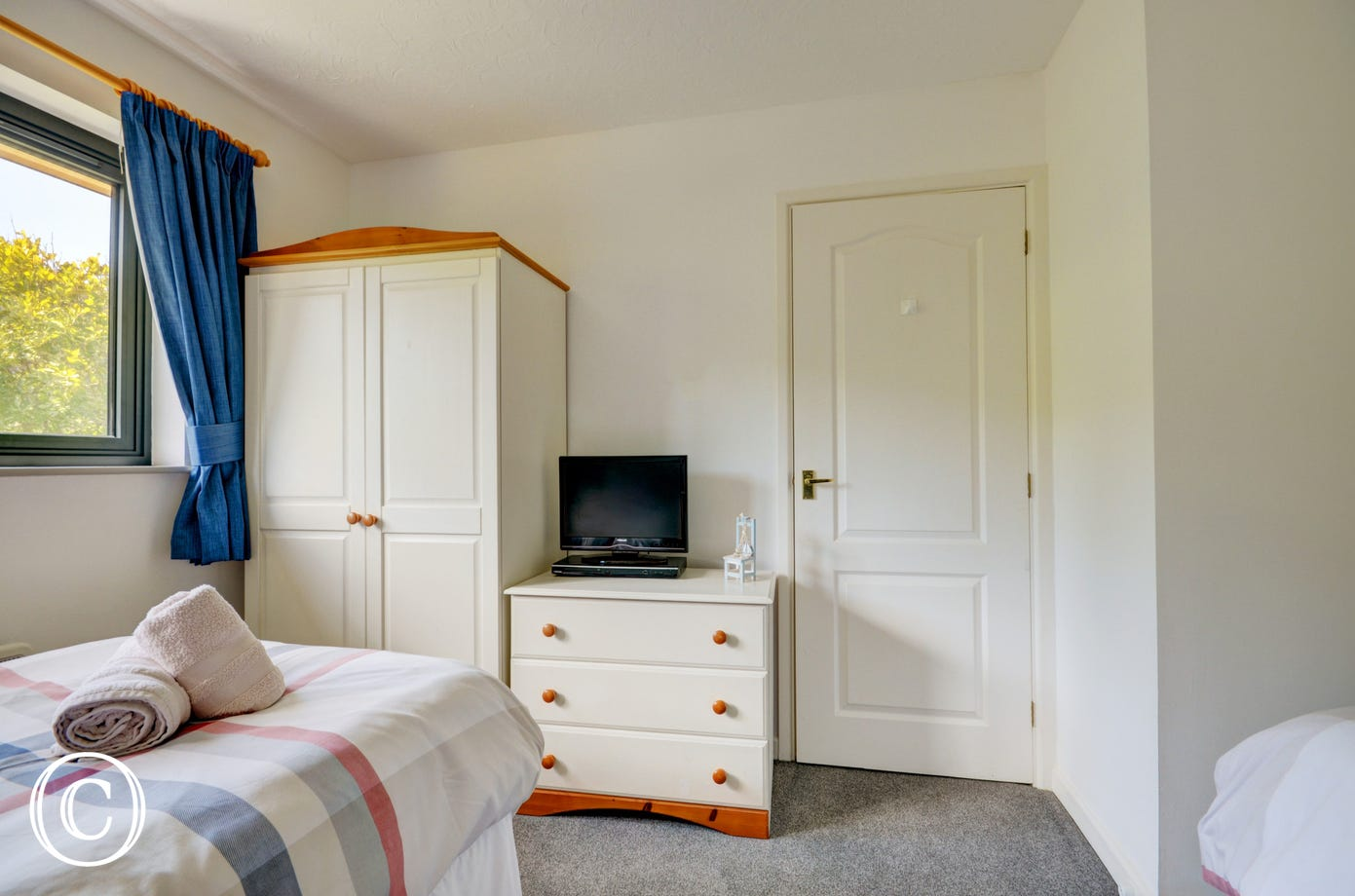 The twin room is spacious and has lovely views towards the back of the property