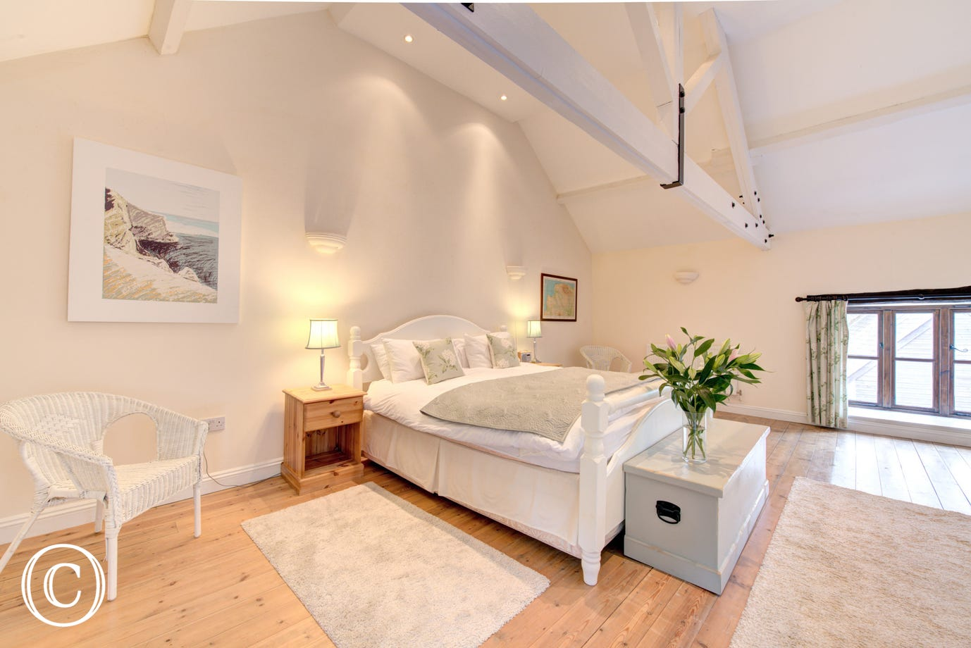 Beautifully decorated master bedroom with superking