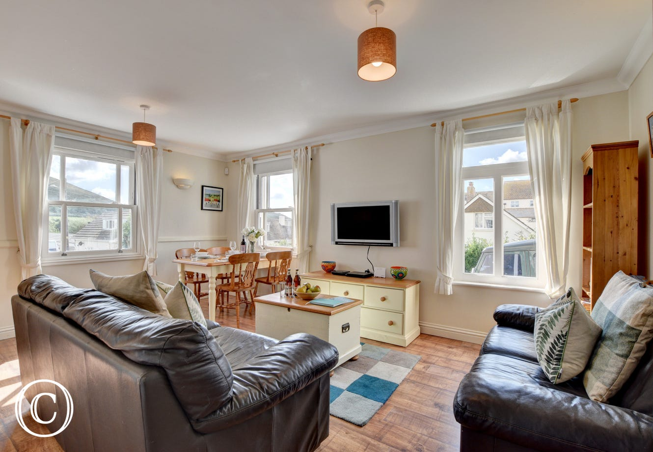 The apartment has a lovely feel to it, with comfortable leather sofas to relax in after a day of exploring