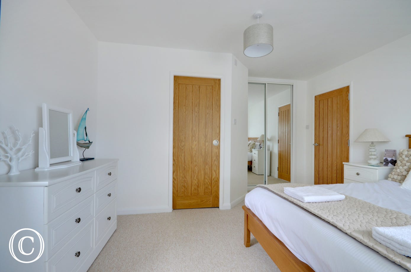 Beautifully decorated bedroom with modern ensuite bathroom