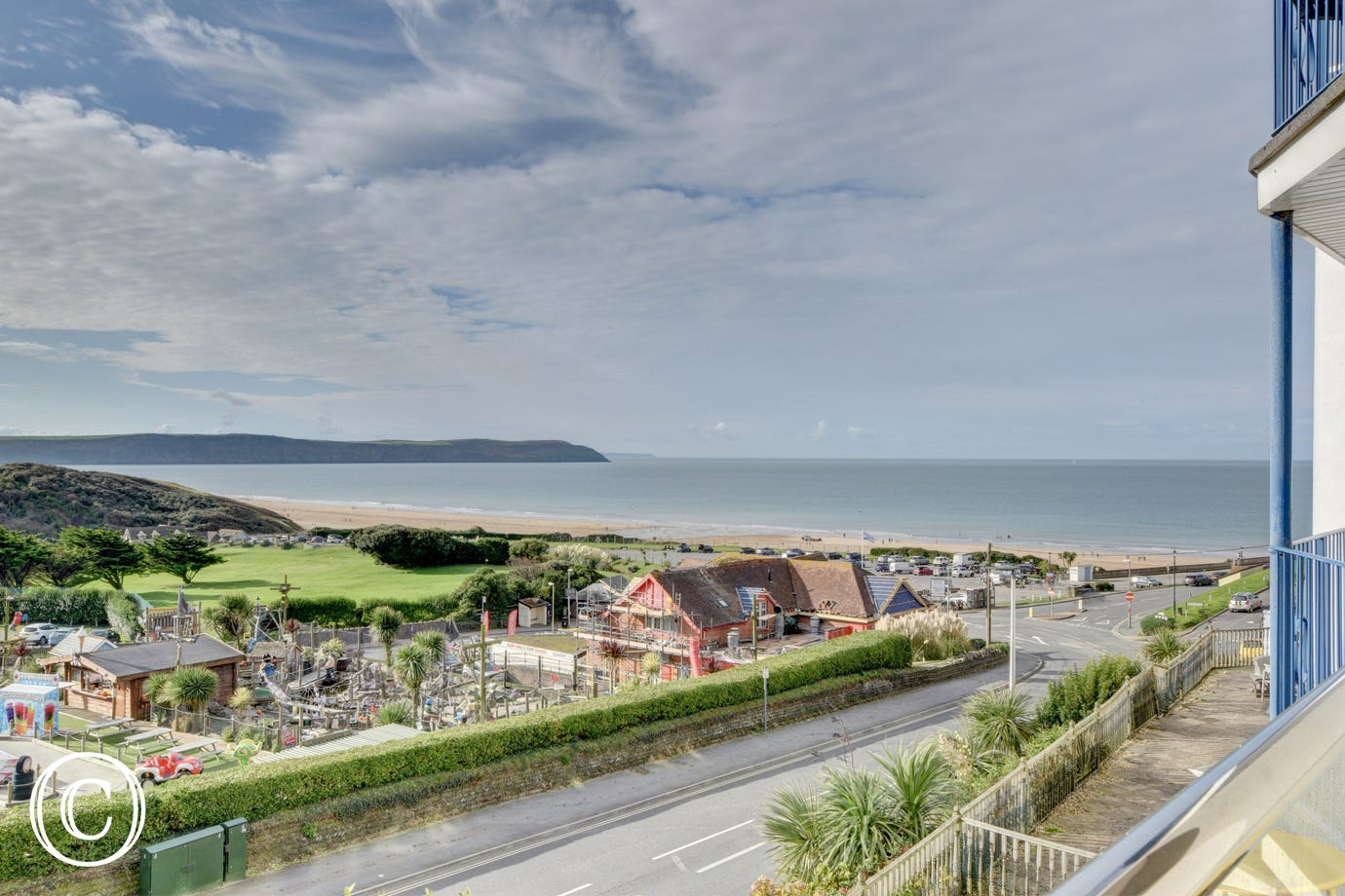 Stunning views out over Woolacombe village and beach