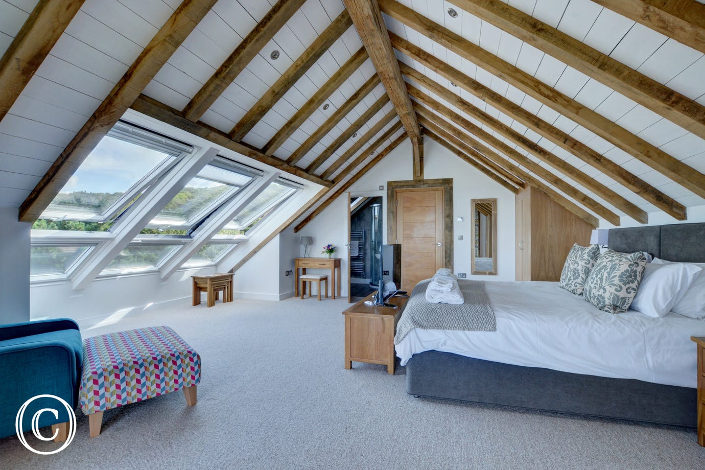 The huge stunning master bedroom with ensuite bathroom