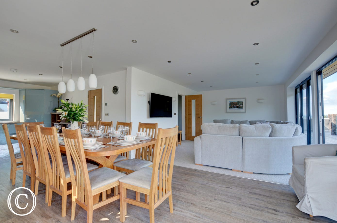 The contemporary kitchen and dining area is fantastic for socialising for any occasion